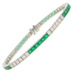 Art Deco Inspired Emerald and Diamond Line / Tennis Bracelet in Platinum