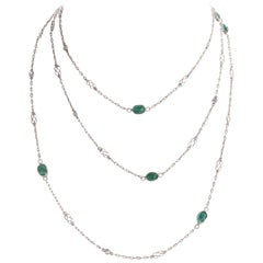 Art Deco Inspired Emerald Diamond Platinum Necklace