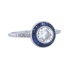 Art Deco Inspired Engagement Ring Diamond Sapphire Target Ring