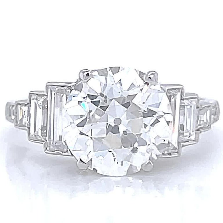 Art Deco Inspired Engagement Ring GIA 3.06 Carat Old European Cut Diamond In New Condition For Sale In Beverly Hills, CA