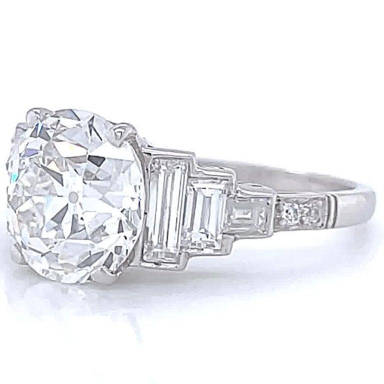 Women's Art Deco Inspired Engagement Ring GIA 3.06 Carat Old European Cut Diamond For Sale