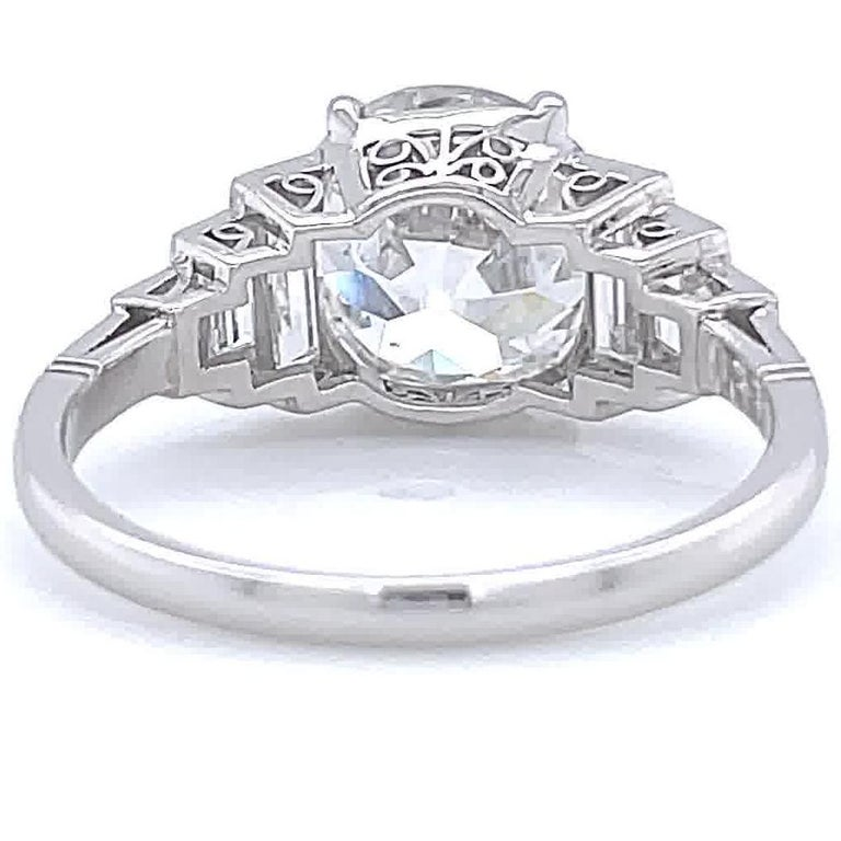 Art Deco Inspired Engagement Ring GIA 3.06 Carat Old European Cut Diamond For Sale 1