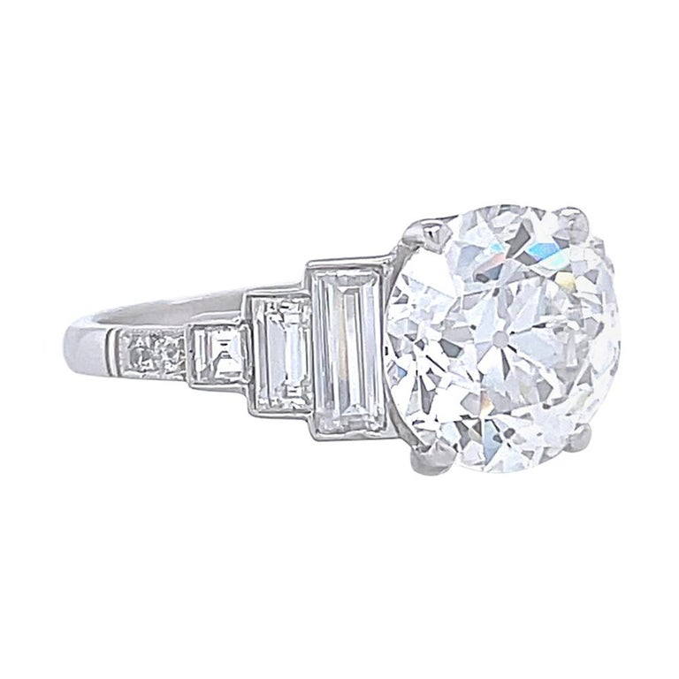 Art Deco Inspired Engagement Ring GIA 3.06 Carat Old European Cut Diamond For Sale