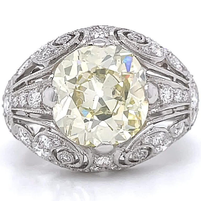 Old Mine Cut Art Deco Inspired Engagement Ring GIA 4.50 Old Mine Fancy Yellow Diamond Ring For Sale