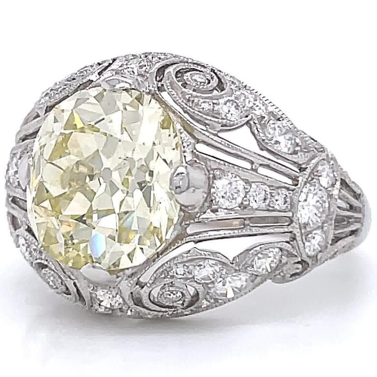 Art Deco Inspired Engagement Ring GIA 4.50 Old Mine Fancy Yellow Diamond Ring In Excellent Condition For Sale In Beverly Hills, CA