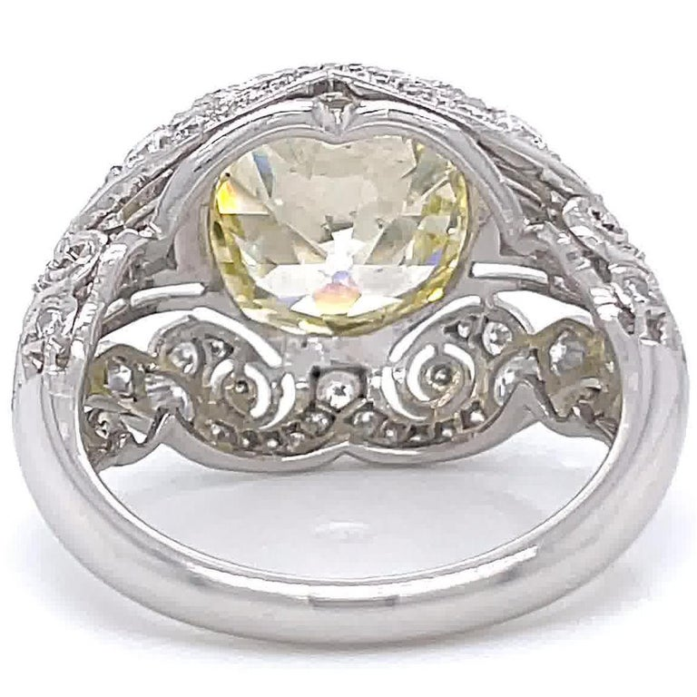 Art Deco Inspired Engagement Ring GIA 4.50 Old Mine Fancy Yellow Diamond Ring For Sale 1