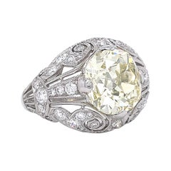 Art Deco Inspired Engagement Ring GIA 4.50 Old Mine Fancy Yellow Diamond Ring