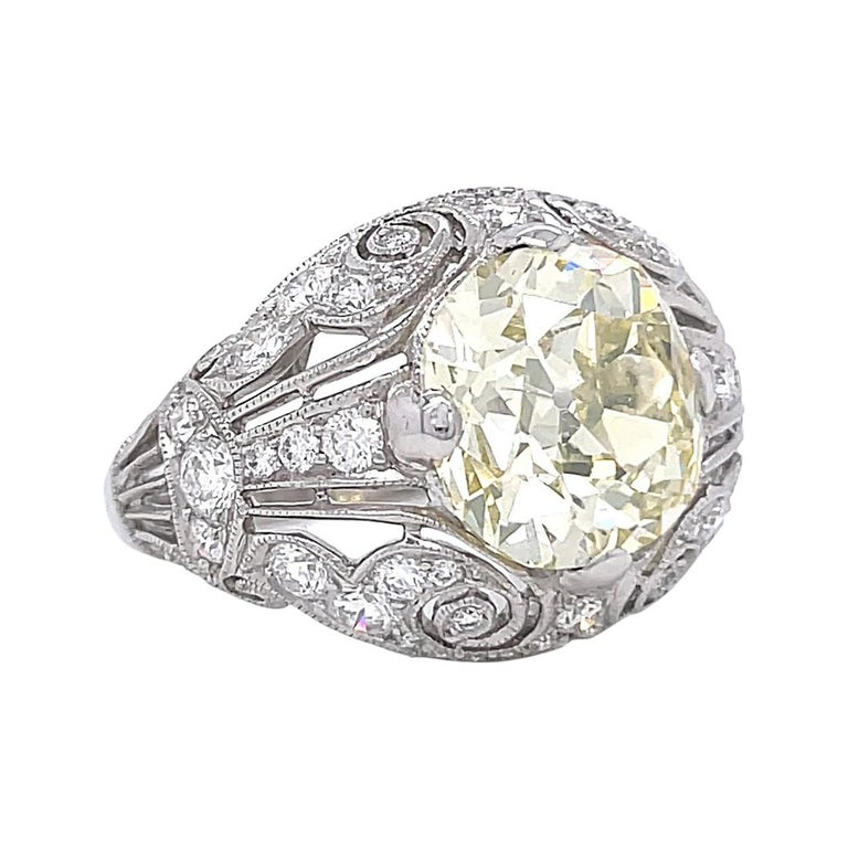 Art Deco Inspired Engagement Ring GIA 4.50 Old Mine Fancy Yellow Diamond Ring For Sale