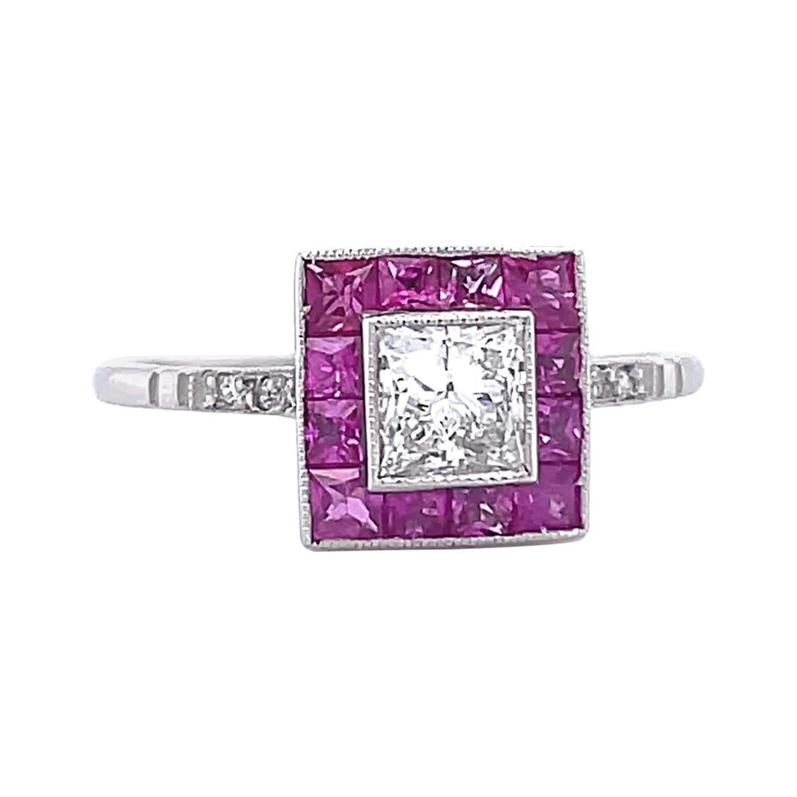 Art Deco Inspired Engagement Ring Princess Cut Diamond Ruby Ring