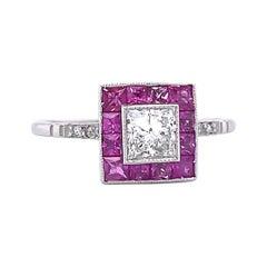 Art Deco Inspired Engagement Ring Princess Cut Diamond Ruby Ring