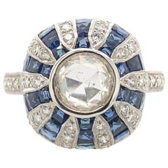 Art Deco Inspired Diamond & Sapphire Ring 18k White Gold
