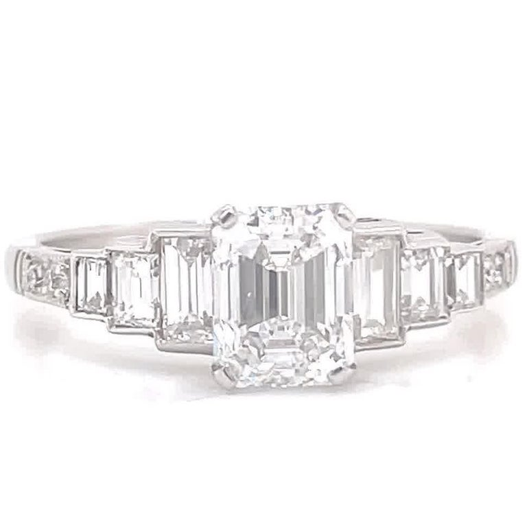 Art Deco Inspired GIA 1.00 Carat Emerald Cut Diamond Platinum Engagement Ring In New Condition For Sale In Beverly Hills, CA