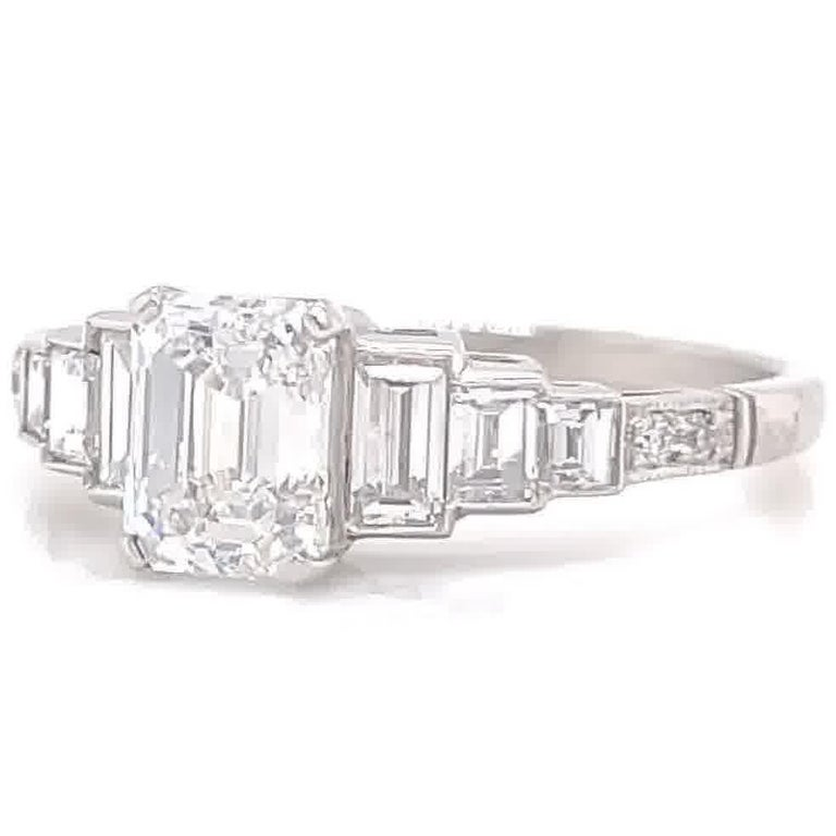 Women's Art Deco Inspired GIA 1.00 Carat Emerald Cut Diamond Platinum Engagement Ring For Sale