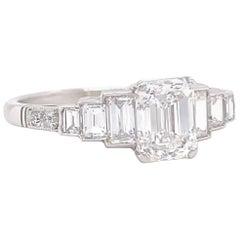 Art Deco Inspired GIA 1.00 Carat Emerald Cut Diamond Platinum Engagement Ring