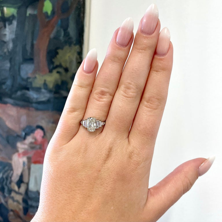 If you are looking for an engagement ring and want something that's timeless and classic, but also unique; consider this  Art Deco Inspired Diamond Platinum Engagement Ring. The ring is brand new, superbly made and carries on the legacy of elegance,