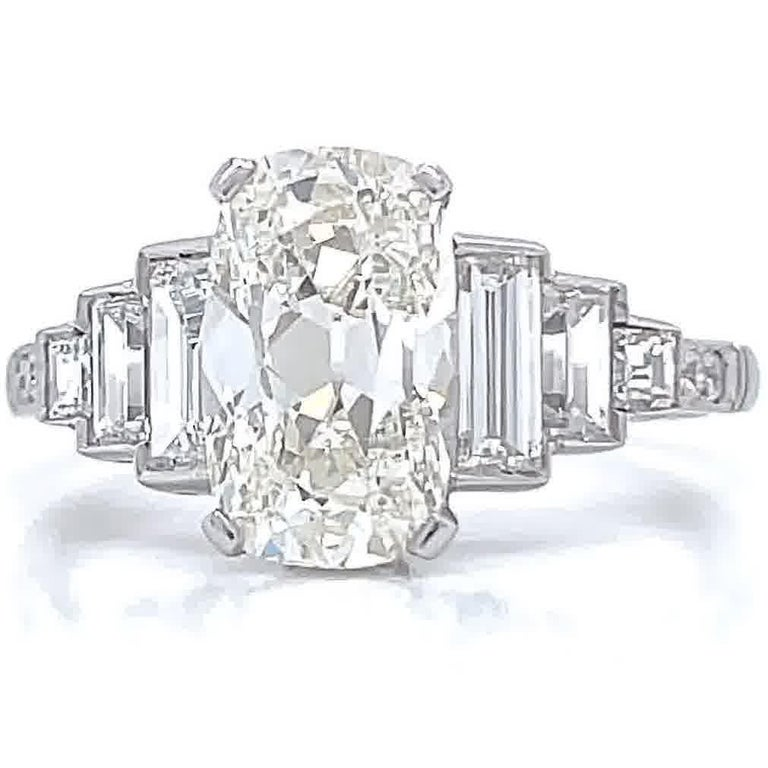 Antique Cushion Cut Art Deco Inspired GIA 2.02 Carat Cushion Cut Diamond Platinum Engagement Ring