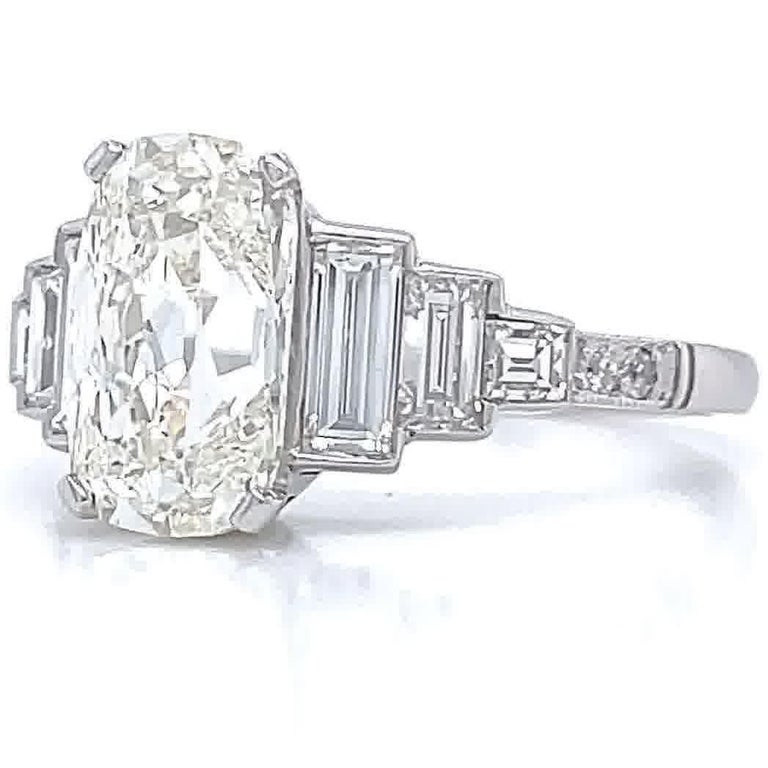 Art Deco Inspired GIA 2.02 Carat Cushion Cut Diamond Platinum Engagement Ring In New Condition In Beverly Hills, CA