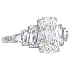 Art Deco Inspired GIA 2.02 Carat Cushion Cut Diamond Platinum Engagement Ring