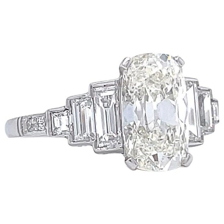 Art Deco Inspired GIA 2.02 Carat Cushion Cut Diamond Platinum Engagement Ring
