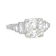 Art Deco Inspired GIA 2.86 Carat Square Emerald Diamond Platinum Engagement Ring