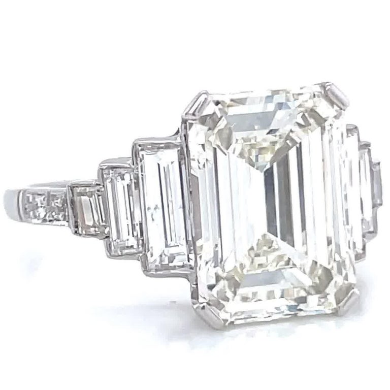 Art Deco Inspired GIA 4.05 Carat Emerald Cut Diamond Platinum Engagement Ring In New Condition For Sale In Beverly Hills, CA