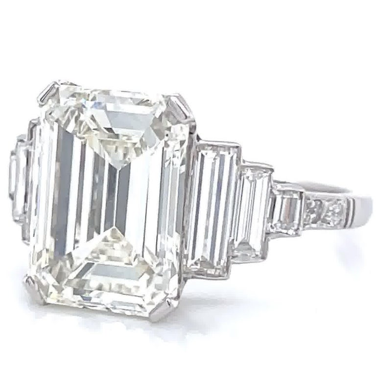 Women's Art Deco Inspired GIA 4.05 Carat Emerald Cut Diamond Platinum Engagement Ring For Sale