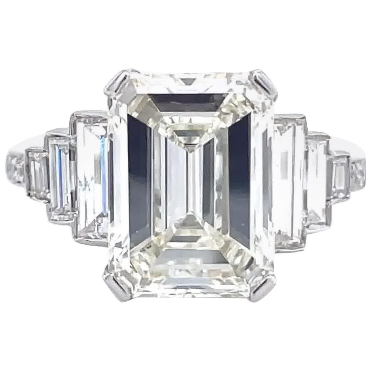 Art Deco Inspired GIA 4.05 Carat Emerald Cut Diamond Platinum Engagement Ring