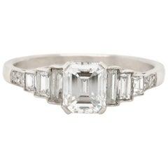 Art Deco Inspired GIA E Color VS1 Clarity 1.02 Carat Diamond Platinum Ring