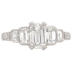Art Deco Inspired GIA Emerald Cut Diamond Platinum Engagement Ring