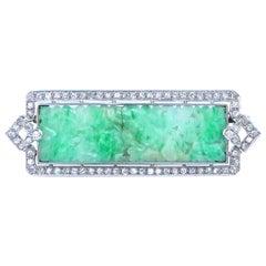 Art Deco Inspired Hand Carved Jade Diamond Platinum Brooch