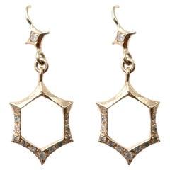 Art Deco Inspired Hexagon Earrings in 14 Karat Gold with Diamonds