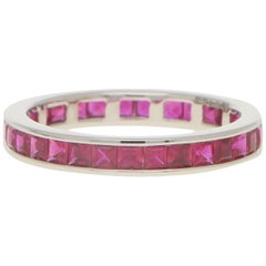 Art Deco Inspired Invisibly Set Ruby Full Eternity Ring Set in Platinum