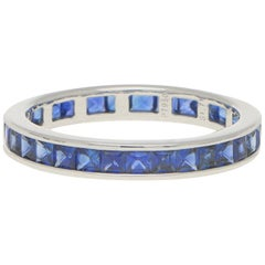 Art Deco Inspired Invisibly Set Sapphire Full Eternity Ring Set in Platinum