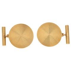 Art Deco Inspired Large Round Kutchinsky Cufflinks Set in 9 Karat Yellow Gold