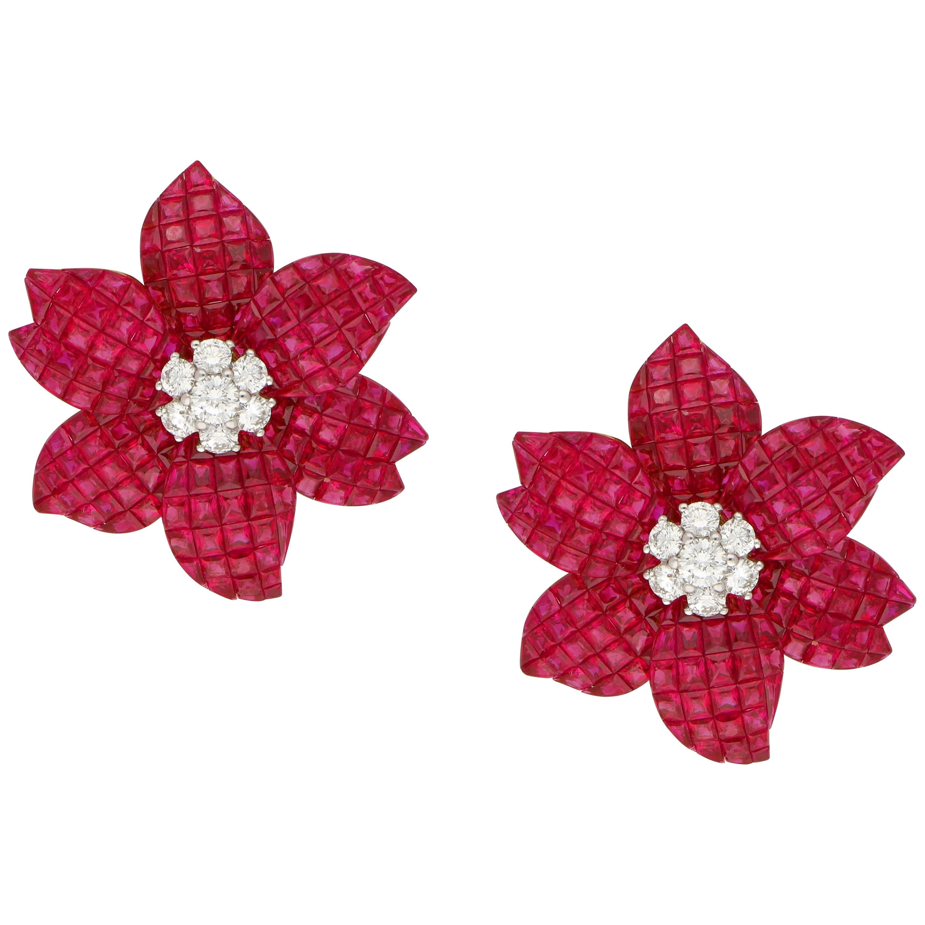 Art Deco Inspired Large Ruby and Diamond Flower Earrings in 18 Karat Yellow Gold