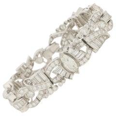 Art Deco Inspired Marquise and Baguette Diamond Bracelet in 18 Karat White Gold