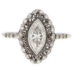 Art Deco Inspired Marquise Cut Diamond Cluster Ring Set in Platinum