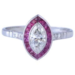 Art Deco Inspired Marquise Cut Diamond Ruby Ring