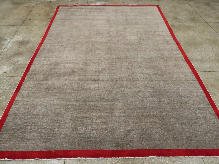 Hand-Knotted Art Deco Inspired Mid-20th Century Handmade Persian Mashad Room Size Carpet For Sale
