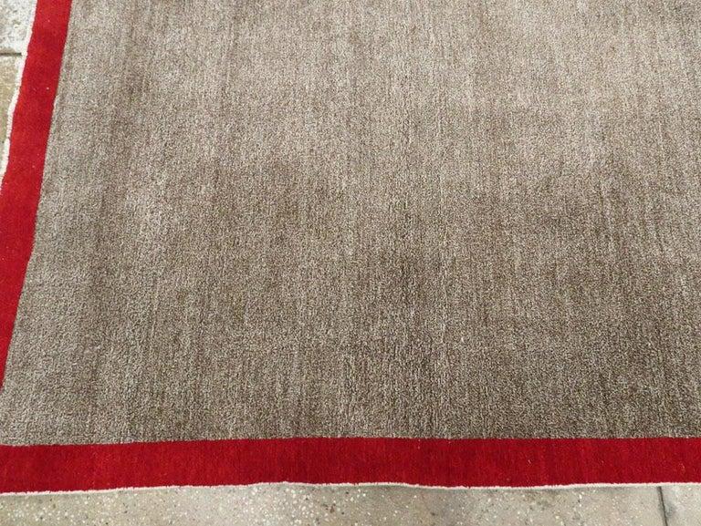 Art Deco Inspired Mid-20th Century Handmade Persian Mashad Room Size Carpet For Sale 2