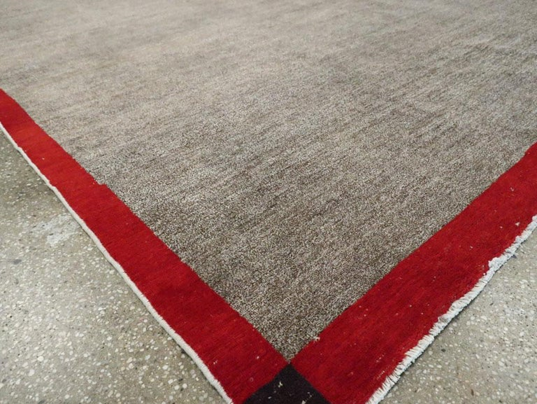 Art Deco Inspired Mid-20th Century Handmade Persian Mashad Room Size Carpet For Sale 3