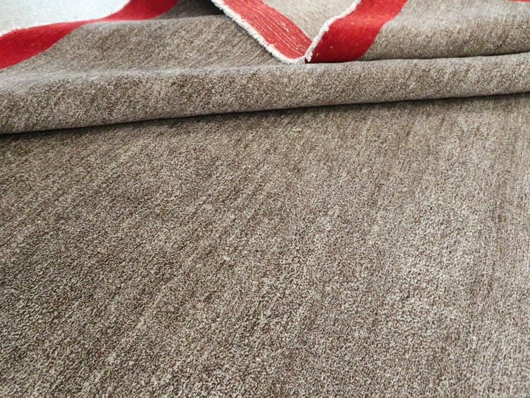 Art Deco Inspired Mid-20th Century Handmade Persian Mashad Room Size Carpet For Sale 4