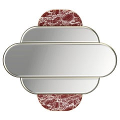 Art Deco Inspired Mirror with Gold Stainless Steel Rims and Red Marble Details