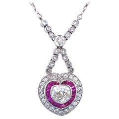 Art Deco Inspired Necklace Diamond Ruby Platinum