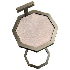 Art Deco Inspired Octogan Martini Table in Steel Powder Coated & Jesmonite Tile