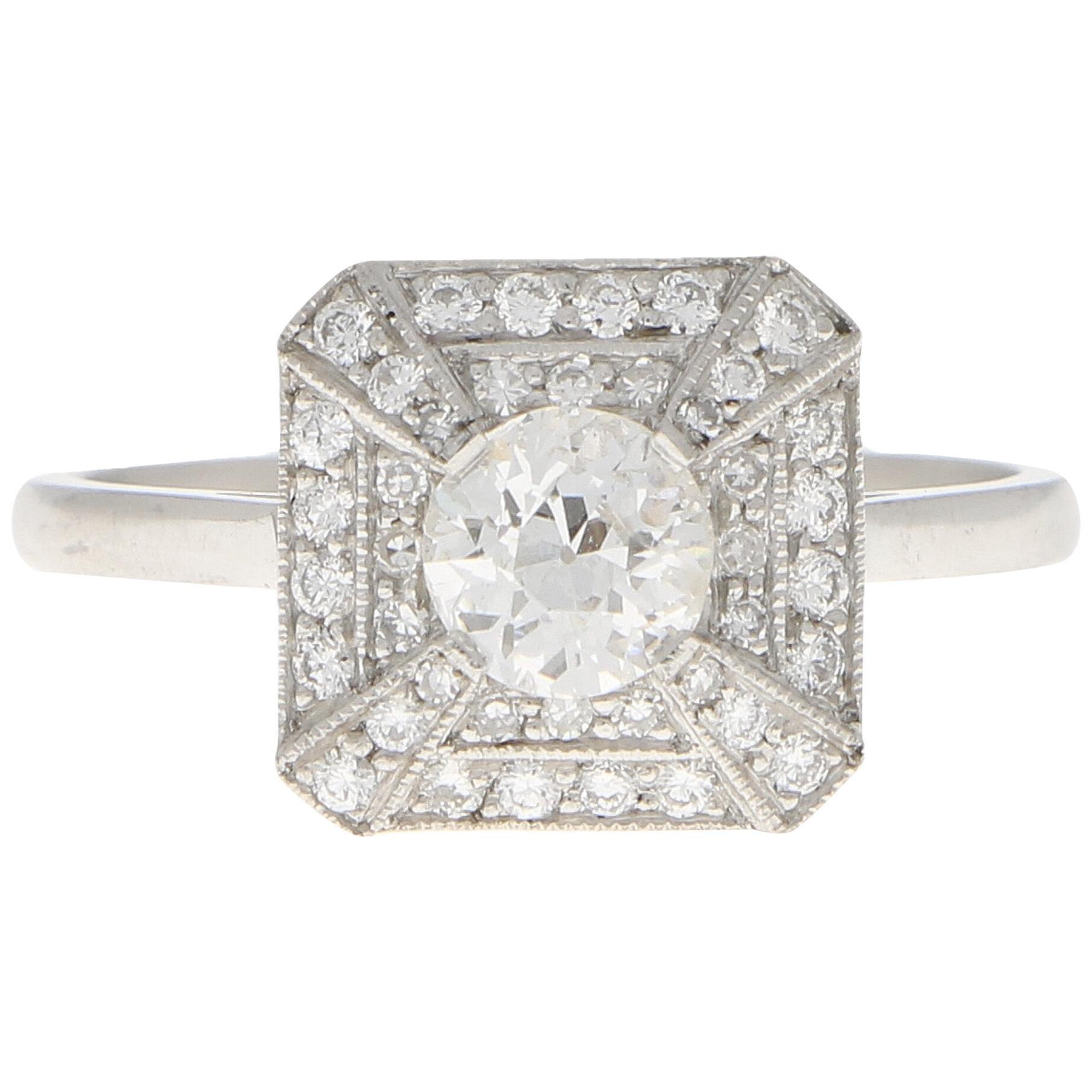 Art Deco Inspired Old Cut Diamond Engagement Ring Set in Platinum