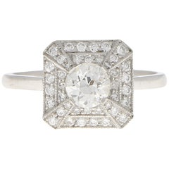 Art Deco Inspired Old Cut Diamond Engagement Ring Set in Platinum