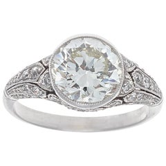 Art Deco Inspired Old European Cut 2.26 Carat Diamond Platinum Engagement Ring
