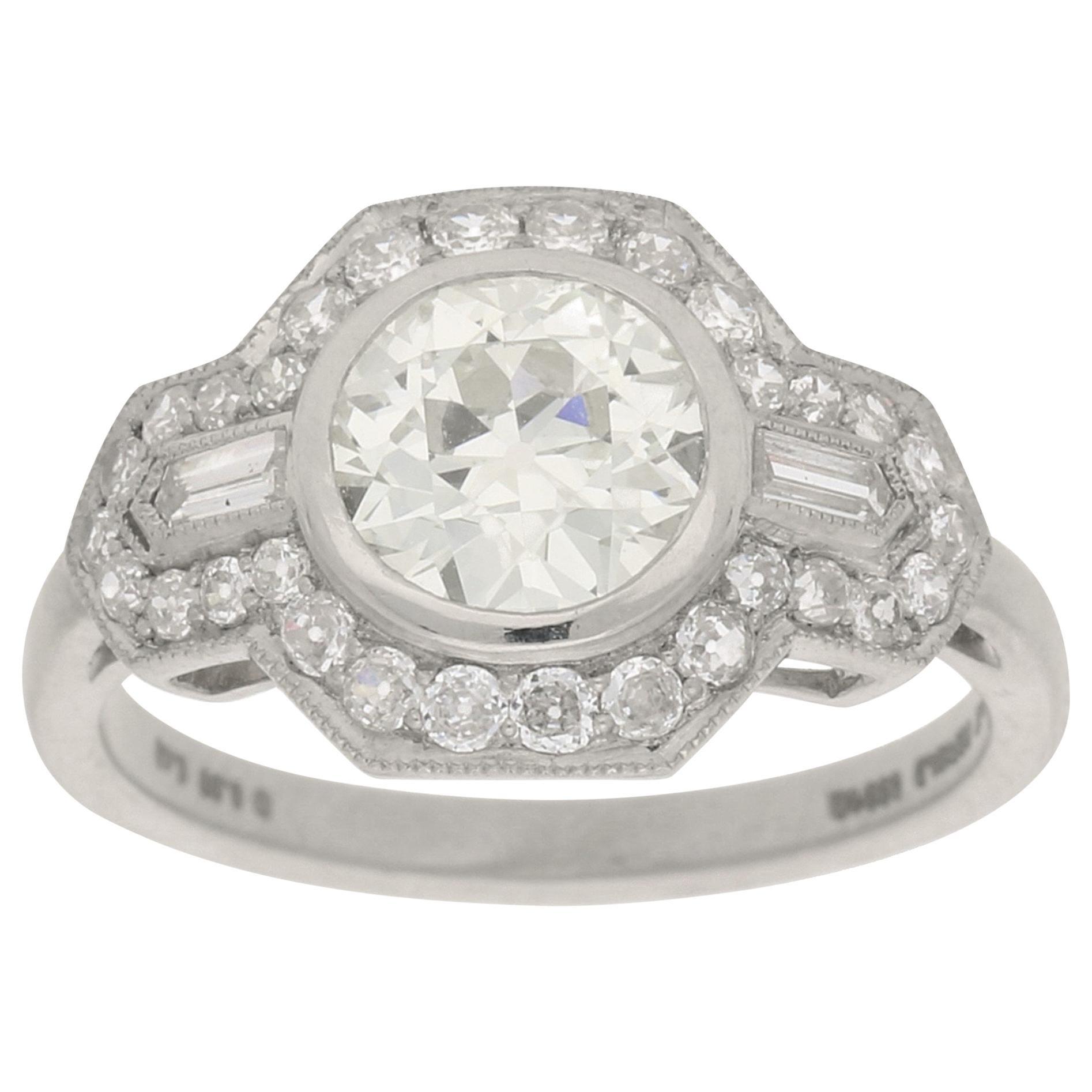 Art Deco Inspired Old European Cut Diamond Engagement Ring Set in Platinum