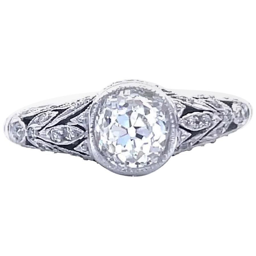 Art Deco Inspired Old European Cut Diamond Platinum Engagement Ring